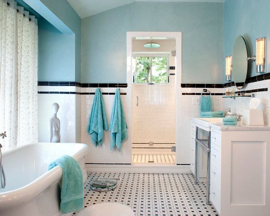 Bathroom, Blue Black And White Bathroom Ideas Looks Contrast At Blue Towel  Blue Paint Wall