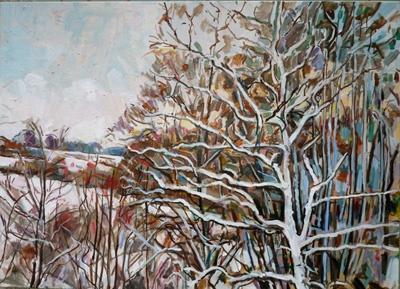 White tree in the snow 80 x 110cm