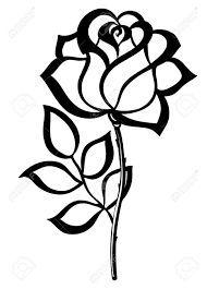 Image result for flower stem clipart black and white | Rose stencil, Flower drawing, Rose outline