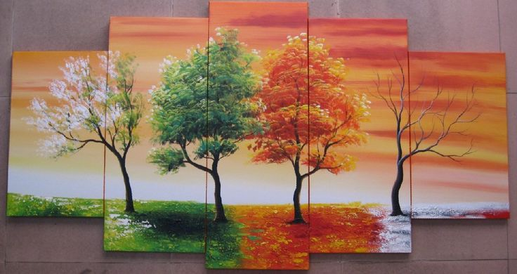 5103 handpainted 5 piece modern abstract oil paintings on canvas wall art 4 season tree pictures for living room home decoration US $56.00
