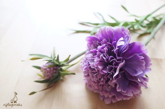 """Purple Scabiosa Each stem measures approx. 19"""" in length. Each stem has 1 flower and 1 bud. Each flower measures approx. 3 1/4"""" wide and each bud measures approx. 3/4"""" wide. The listing is for ONE stem. Available in two colors: 1. Purple 2. Hot Pink  ** This scabiosa can be ordered WITH or WITHOUT the stem. {Perfect for} - bridal bouquet, corsage, boutonniere, headpiece and wedding crown - gift packaging - wedding, anniversary, birthday, party and holiday decorating Handpicked by Gi..."""