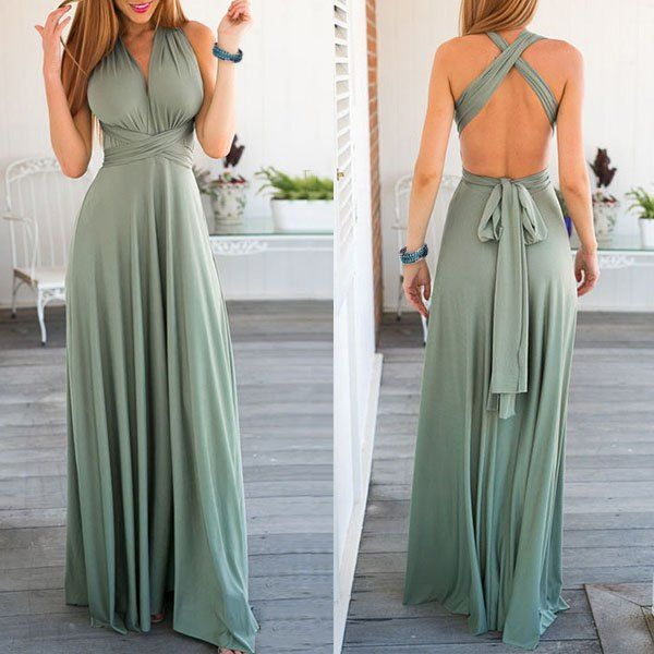 Sexy Sleeveless Self Tie Design Solid Color Convertible Women's Dress (LIGHT GREEN,L) in Maxi Dresses   DressLily.com