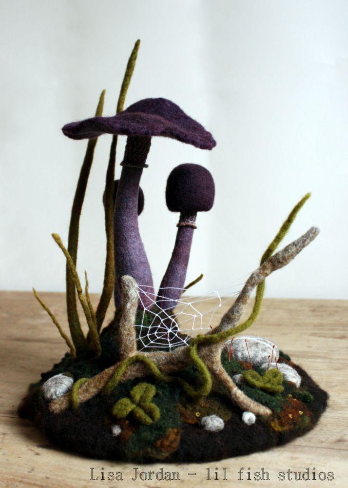 needle-felted mushroom scene by Lisa Jordan of lil fish studios