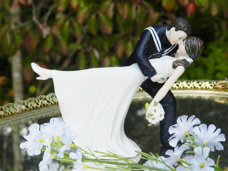 USN Military Bride Navy Sailor Groom Uniform Dance Dip Wedding Cake Topper