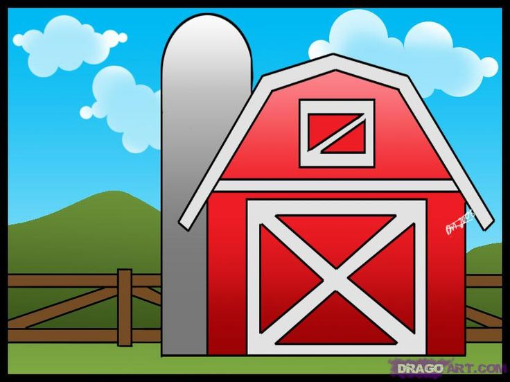 How To Draw A Barn Step By Step Buildings Landmarks