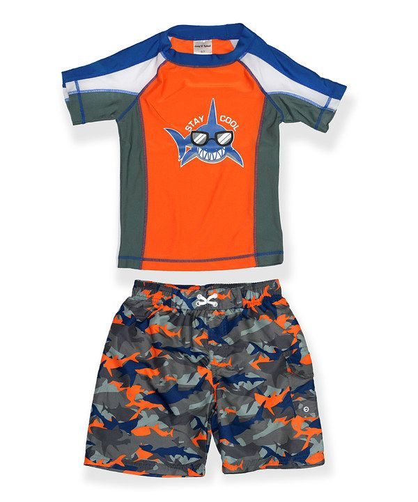 Look at this Jump'N Splash Orange Two-Piece Rashguard - Boys on #zulily today!