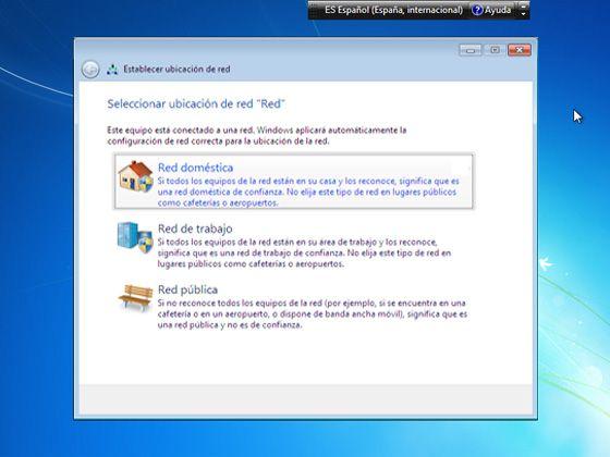 Instalar Windows 7: Elige el tipo de red