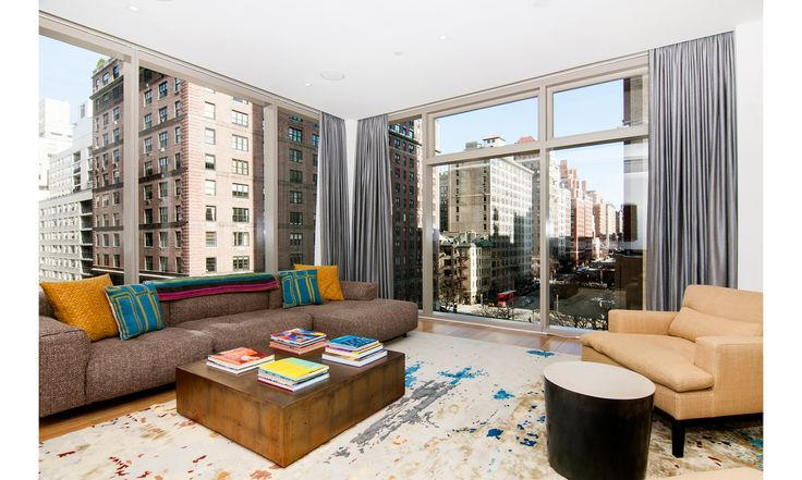 The living room of a $10 million condo overlooking Park Avenue.