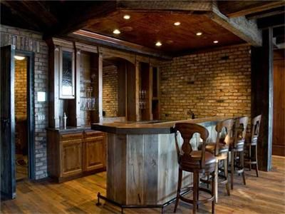 Love the barn wood bar!