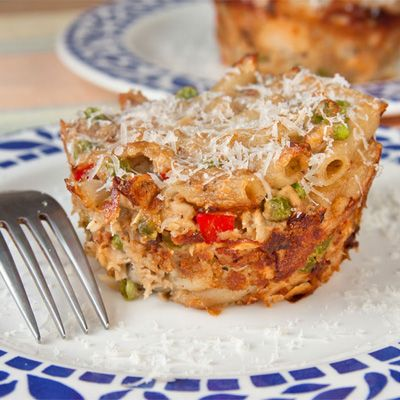 Curry Tuna Noodle Casseroles Recipe in muffin tin - Redbook