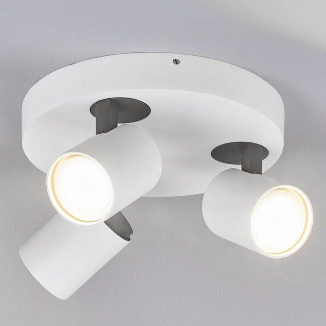 Plafonnier LED rond Sean à trois lampes LAMPENWELT : prix, avis & notation, livraison. Sean est un beau plafonnier au caractère discret, équipé d?ampoules LED GU10. Il s'adapte aux intérieurs modernes et les têtes de lampe peuvent être inclinées et orientées. Coloris : blanc, gris foncéMatériau : aluminiumTempérature de couleur: : blanc chaud (3 000 K)Hauteur : 11,5 cmDiam&...