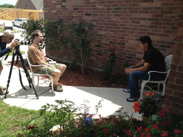 "Brian Ching being interviewed at ""The House That Ching"" Built for Habitat International Magazine"