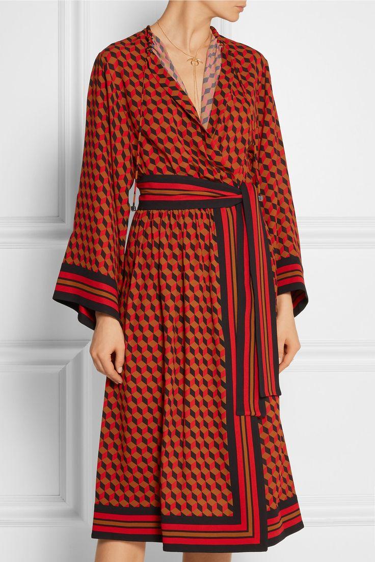Майкл Корс Коллекция | Отпечатано обертывание эффект шелка платье | NET-A-PORTER.COM