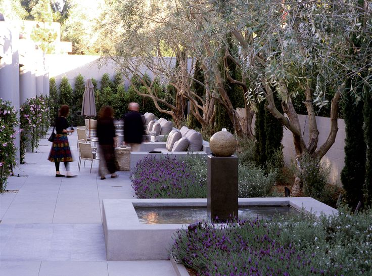 white stone patio with contemporary water feature and Mediterranean planting - Luxe Hotel Sunset Boulevard – EPTDESIGN