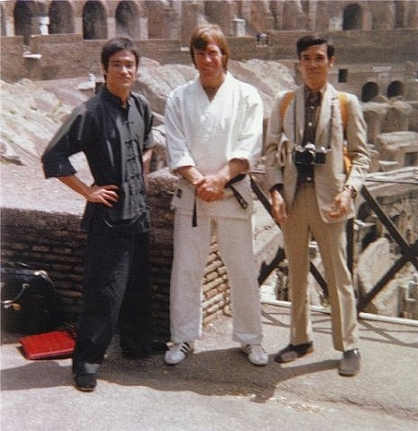 "Bruce Lee and Chuck Norris at the Colosseum in Rome filming ""Way of the Dragon"""
