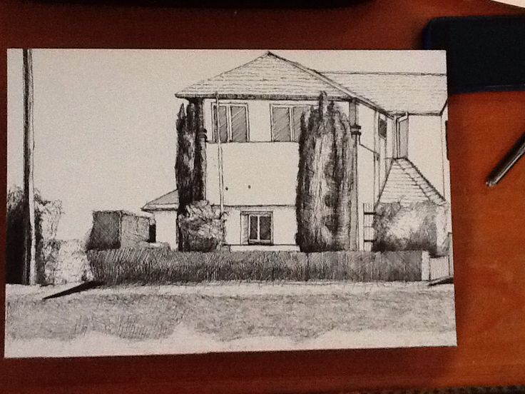 Drawing of house on National Park St Dec 2013 felt tip pen EA