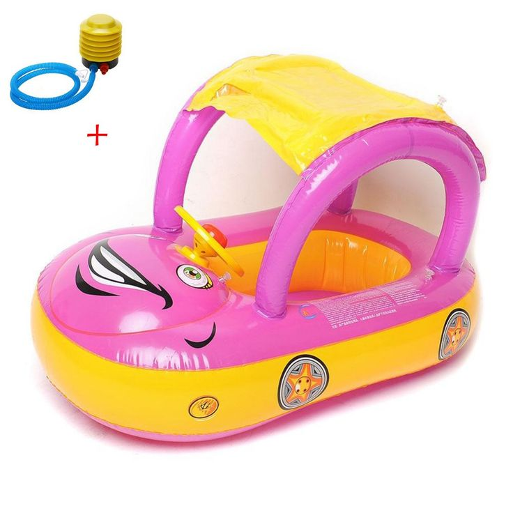 Wonderful Inflatable Baby Float Seat Boat Beach Car Sun Shade Water Swimming Pool  Canopy ( Purple+Yellow ) + A Plastic Foot Air Pump Inflator.