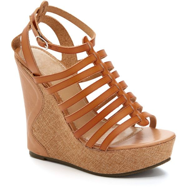 Carrini Camel Strappy Wedge ($8.79) ❤ liked on Polyvore featuring shoes, sandals, wedges, strap sandals, platform sandals, platform wedge shoes, high heel shoes and strap wedge sandals