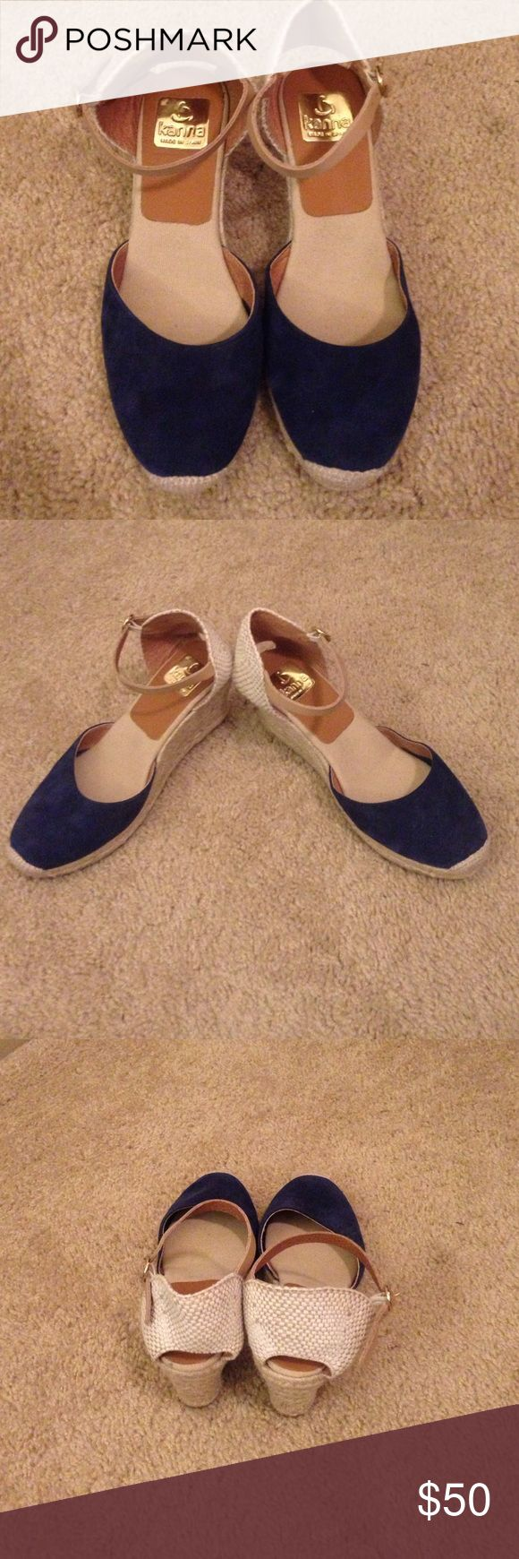 Kanna Blue and Beige Espadrilles Kanna espadrille high heel shoes with adjustable ankle strap. Italian brand, made in Spain. Blue front has soft leather. Sole in good condition Kanna Shoes Espadrilles