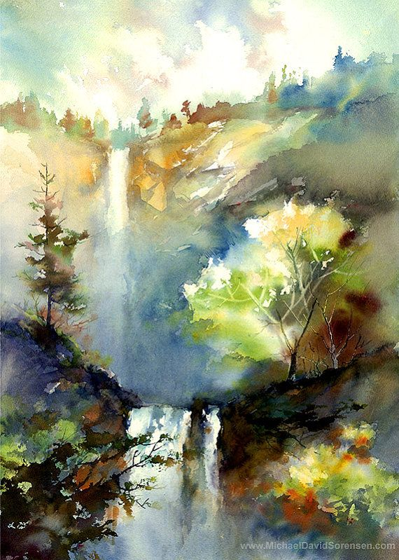"""The Water and the Light"" - Waterfall Watercolor Painting by Michael David Sorensen  www.MichaelDavidSorensen.com"