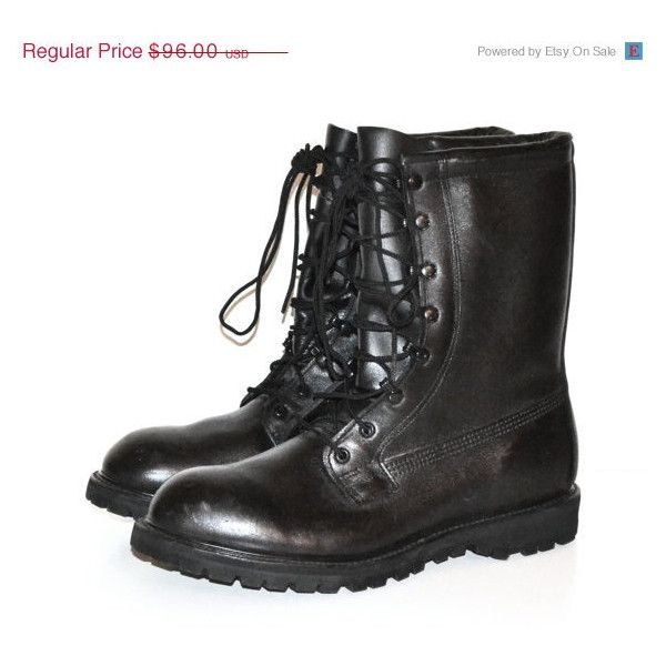 On S A L E... Vintage Men's Black Combat Boots Military Issue Combat... ($86) ❤ liked on Polyvore featuring men's fashion, men's shoes, men's boots, mens wide width boots, mens military style boots, mens black leather boots, mens tall leather boots and mens vintage boots