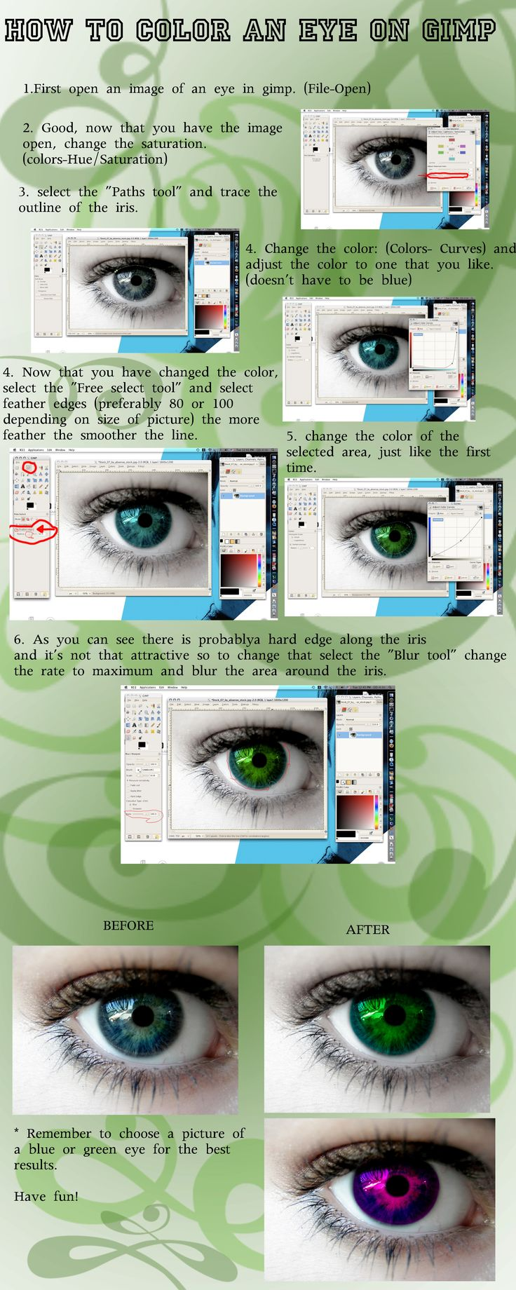 Free online photo editor selective coloring - Eye Coloring Tutorial On Gimp By Evolved Monkey Deviantart Com On Deviantart