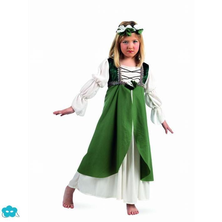 Disfraz de Clarisa Medieval verde para niña