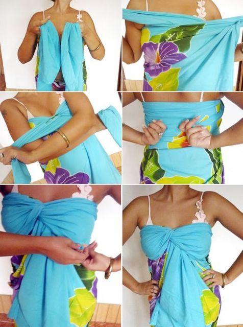 Você pode amarrar uma canga de várias formas, como vestido, top, tomara que caia e até saia! Nós explicamos tudo :) #roupa #pareo #canga #praia