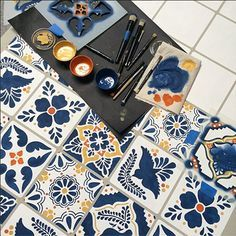 Stencil your own Talavera Tile Table with Talavera stencils from Royal Design Studio