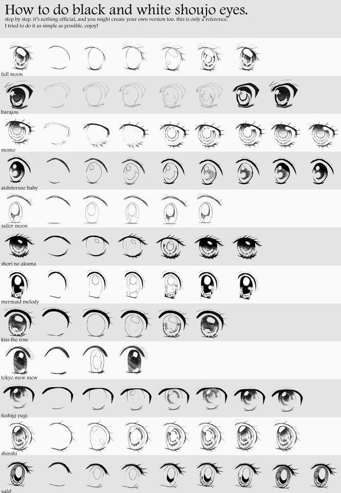 Guia rápido de visão usando blocos - Guia de olhos Shoujo Preto&Branco ~ Draw ProjecT