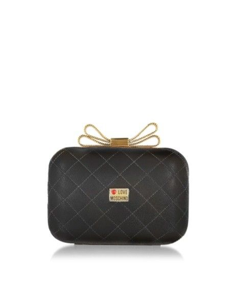 LOVE MOSCHINO QUILTED ECO LEATHER CLUTCH W/CHAIN STRAP