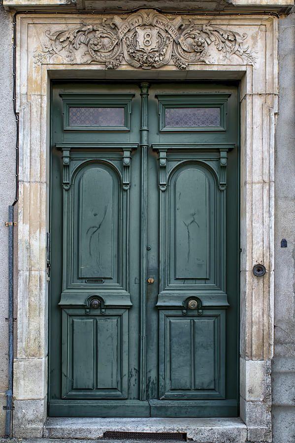 Agen Teal Green Door In France Photograph