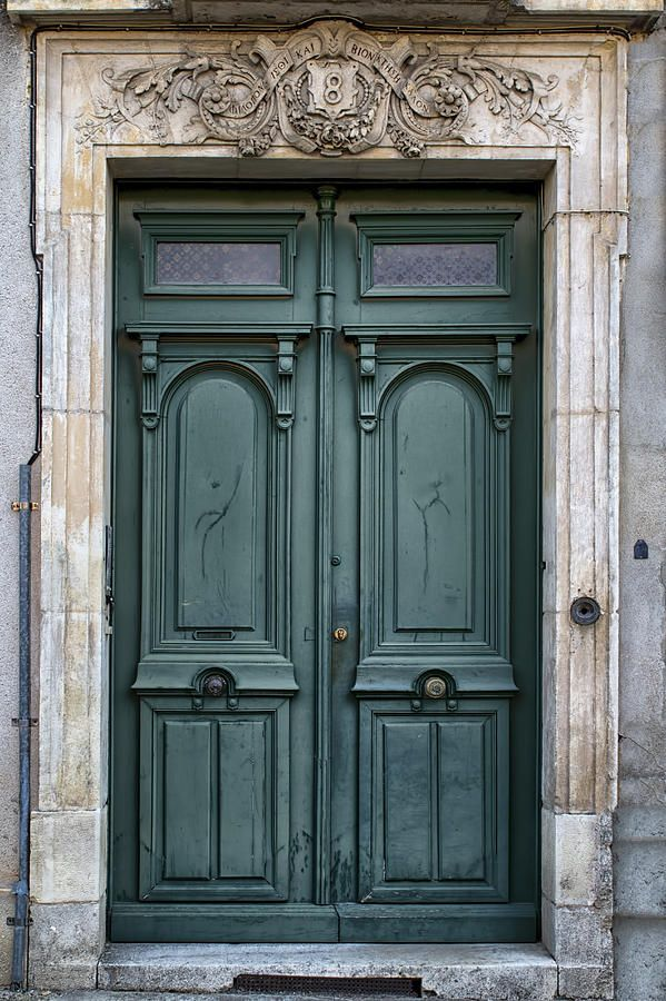 Agen Teal Green Door In France Photograph