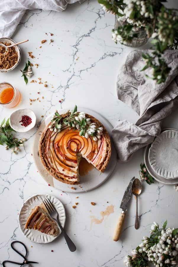 Chevre Cheesecake + Pink Peppercorn, Orange, & Rhubarb - The Kitchen McCabe