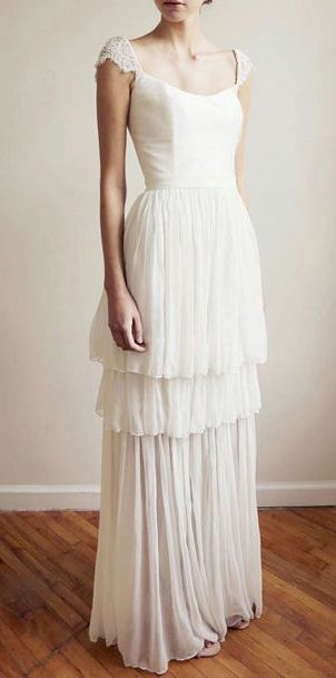 Cap-Sleeve Silk and Lace Wedding Gown - Maryam
