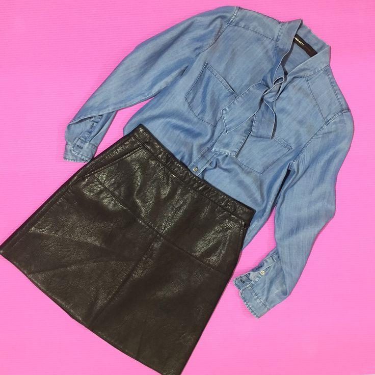 Кожаная юбка и джинсовая блузка с бантом создадут неповторимый образ!👠💋  🏠Находимся по адресу ул. Антоновича 19/21 📞тел:050-419-66-20 📦Бесплатная доставка по Украине