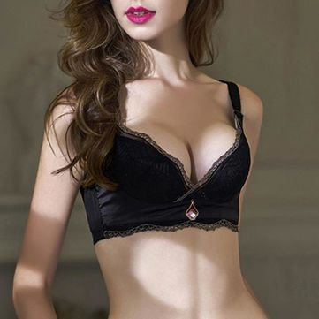 Sexy Lightly Lined Uplift Cozy Bra Breathable Wireless Lace Embroidery Brassiere at Banggood
