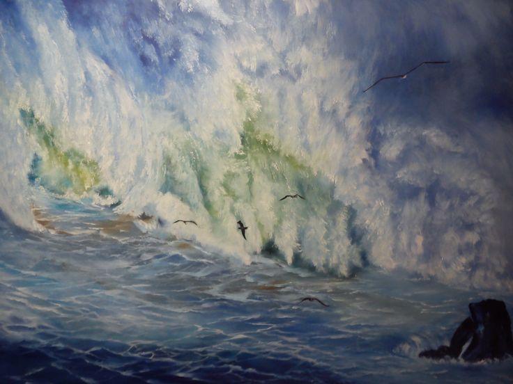 Mareas en La Coruña, oleo en lienzo 3 D