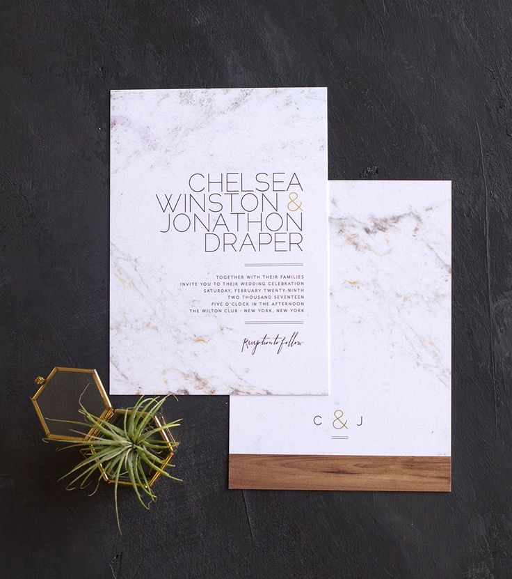 The marble and wood trend is so hot right now. Love how this wedding invite translates it to paper.