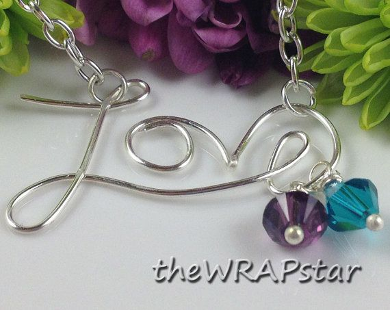 Silver Love Necklace Wire Wrapped Jewelry Handmade I Love You Gift For Her Necklace Personalized Jewelry Birthstone Necklace ITEM0201 via Etsy