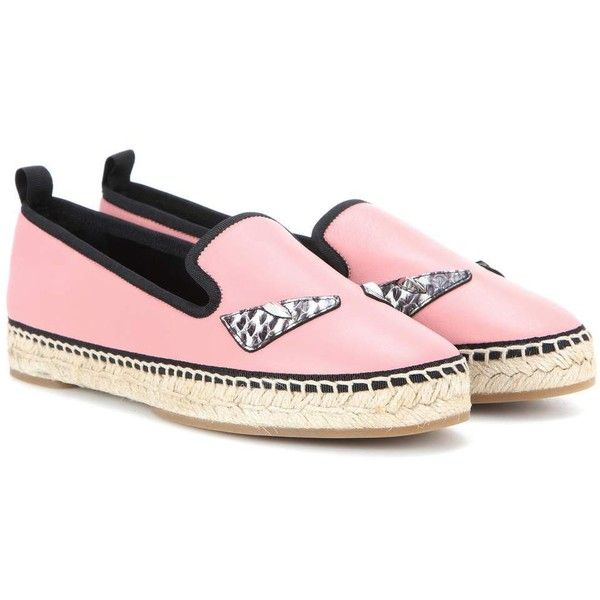 Fendi Leather Espadrilles ($695) ❤ liked on Polyvore featuring shoes, sandals, espadrilles, pink, espadrille shoes, pink shoes, genuine leather shoes, leather espadrilles and leather footwear