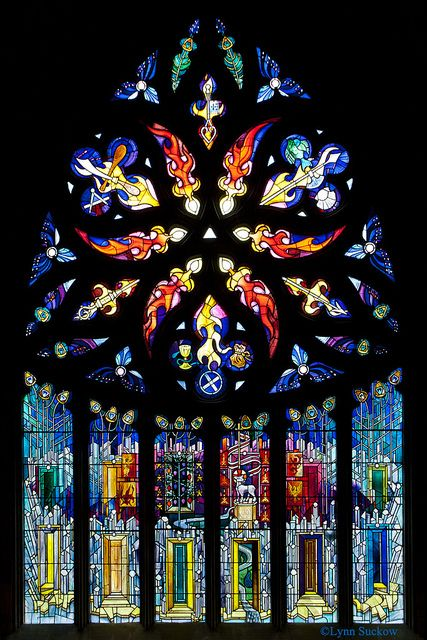 This stained glass window is in St. Katherine's Aisle of St. Michael's Parish Church in Linlithgow.  It was installed in 1992 to mark the 750th anniversary of the consecration of St Michael's.  Scottish artist Crear McCartney design and executed the window.  tjn