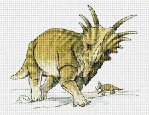 Styracosaurus Dinosaur Counted Cross Stitch Pattern / Chart