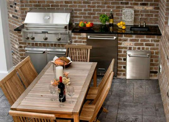 Perfect outdoor kitchen for tiny backyards and porches. Just fit a couple appliances into a corner against your house.