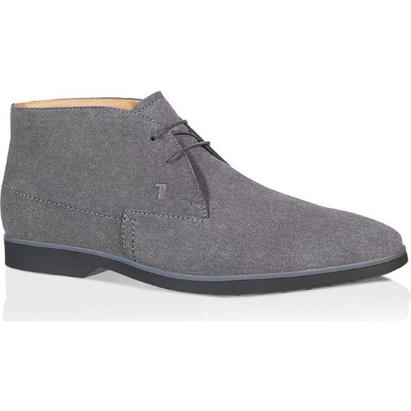 Tod's - Lace-up Ankle Boots in Suede ($330) ❤ liked on Polyvore featuring men's fashion, men's shoes, men's boots, shoes, men, grey, mens gray boots, mens short boots, mens grey shoes and mens lace up boots