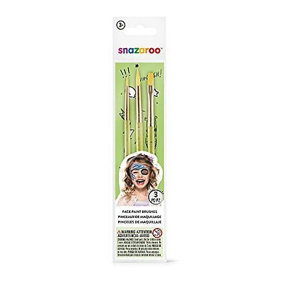 Snazaroo Face Paint Set of 3 Face Painting Brushes, New, Free Shipping