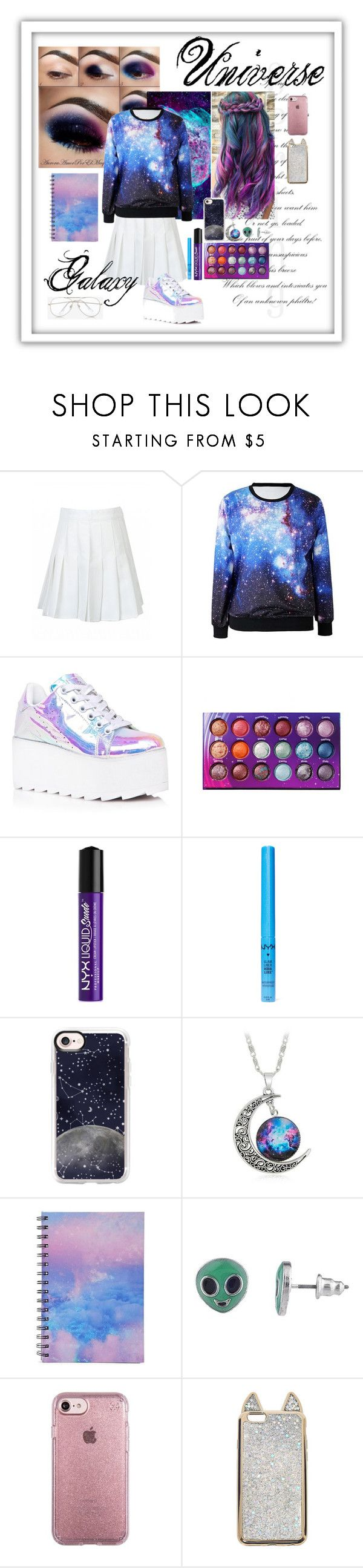Universe Galaxy by reemily on Polyvore featuring mode, Y.R.U., Speck, Casetify, Express, BHCosmetics, NYX and Forever 21