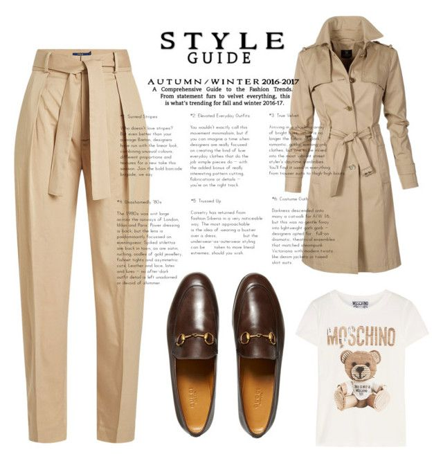 """""""Falling for Brown this fall"""" by nashwynter on Polyvore featuring Polo Ralph Lauren, Moschino and Gucci"""