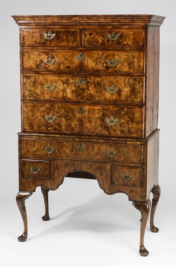 Queen Anne burl highboy, circa 1740, 88 inches high. Great Gatsby's Auction Gallery image