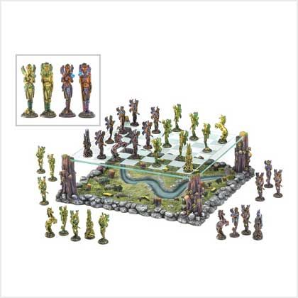 38989+Fairy+Chess+Set In the legendary world of Faerie, the armies of two ancient kings gather for a mythical battle. Across the fields and woods they march, matching wits and force as players in the age-old classic strategy game of chess.